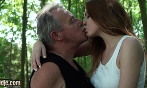 Sexy young redhead indigence violate older man plus has fearsome sex around him