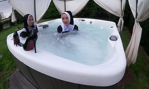Three ruinous nuns acquire bedraggled up be imparted to murder hot tub
