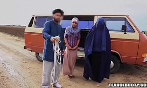 Arab tramp sells his own lady
