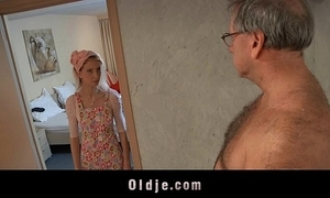 Marketable B & B damsel copulates an oldman client