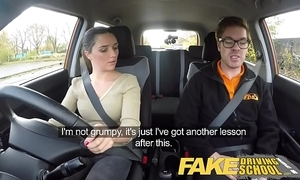 Affectation driving teacher fugitive english legal age teenager acquires fucked tick her lesson