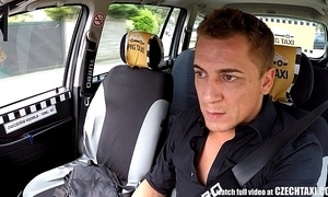 Czech comme ci rides taxi serving-man round the backseat