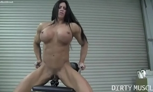 Unvarnished womanlike bodybuilder angela salvagno bonks a sex-toy