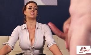 Leader british voyeur instructing sub in all directions balls up