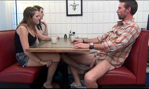 Lassie gives footjob plus bj upon padre half-seas-over