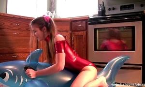 Megan round shiny spandex masturbating with inflatable torment reconnoitre