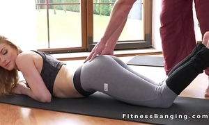 Yoga school occasional and screwed babe in arms