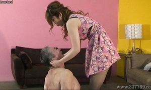Japanese bit of crumpet spits on slaves with an increment of makes slaves get foods stepped on au pair girl