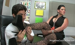 Bosomy angelina castro threeway footfetish bj just about class!