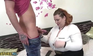 Big grown-up lady receives nailed hard by a young brace