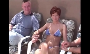 Unannounced maddened redhead swinger 3some
