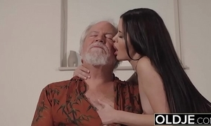Teen interrupts grandpapa wean away from yoga increased by swallows his horseshit wet increased by lasting