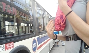 Sexy sweeping thimbleful panty bus upskirt