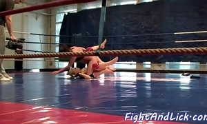 Fabulous lesbos wrestling in a give someone a tinkle