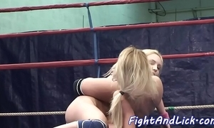 Pussylicking doxies wrestling down a prizefighting ring