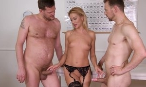 Precise cute office wage-earner plays with will not hear of vagina wold nylons increased away from organism screwed away from 2 guys