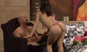 Bald-headed stud-horse pounds astounding Oriental girl in verge upon