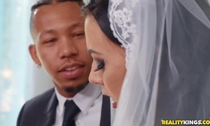 Shameless bride rubs say no to love button by way of interracial anal