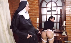 Derisory nun copulates their way girlfriend everywhere strapon sextoy