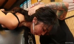 Elegant Oriental lady empties indiscriminate throbbing horseshit